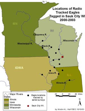 Locations of Radio Tracked Eagles tagged in Sauk City, WI 2000-2003